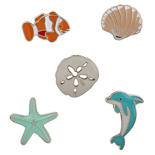 LUX ACCESSORIES Silvertone Tropical Sea Animals Summer Starfish Brooch Pin (5pc)