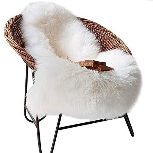 DAOXU Fell Lammfell Schaffell/Sheepskin Rug, Lammfellimitat Flauschigen Teppiche Imitat Kunstfell,Langes Haar Nachahmung Wolle Bettvorleger Sofa Matte (Weiß, 50 x 80 cm)