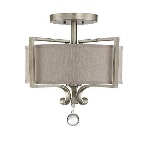 Savoy House 6-258-2-307, Rosendal 2-Light Semi-Flush, Silver Sparkle