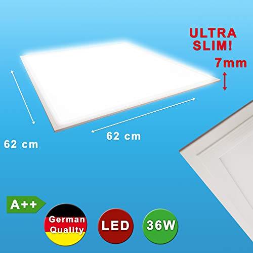 LED Panel 62x62 cm ultra slim nur 7mm hoch 36W zum einlegen und abhängen neutralweiß 4320 Lumen Downlight Deckenlampe Deckenleuchte flach quadratisch
