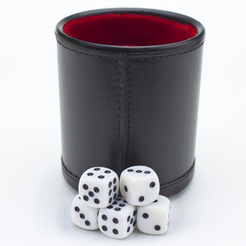 Brybelly GDIC-303 Felt Lined Professional Dice Cup with 5 Dice