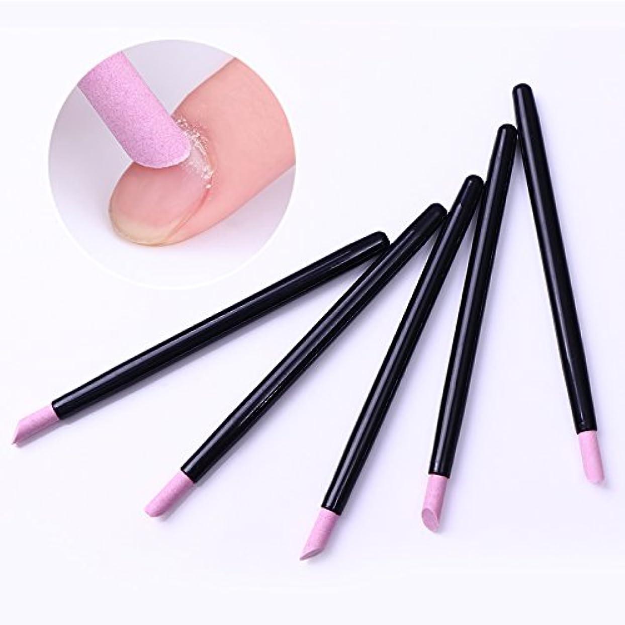 悪意乳無力5Pcs Cuticle Remover Pusher Trimmer Quartz Stone Scrub Pen Nail Tool Black Handle Manicure Nail Care Tool キューティクルリムーバープッシャートリマークォーツストーンスクラブペンネイルツールブラックハンドルマニキュアネイルケアツール
