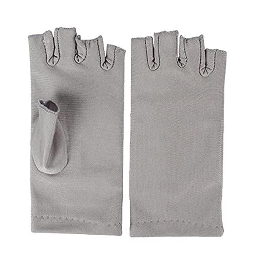lujiaoshout Guantes de uñas Secador de protección Anti UV Led lámpara de la radiación UV Pantalla sin Dedos Guantes Uña Manicura Herramientas para el Arte Inicio 1 par Gris, Productos de Belleza