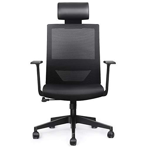 amzdeal Bürostuhl Ergonomischer Schreibtischstuhl mit Einstellbarer PU Kopfstütze Office Chair, Gaming Drehstuhl mit Taillestütze und Wippfunktion, Belastbar bis 136kg