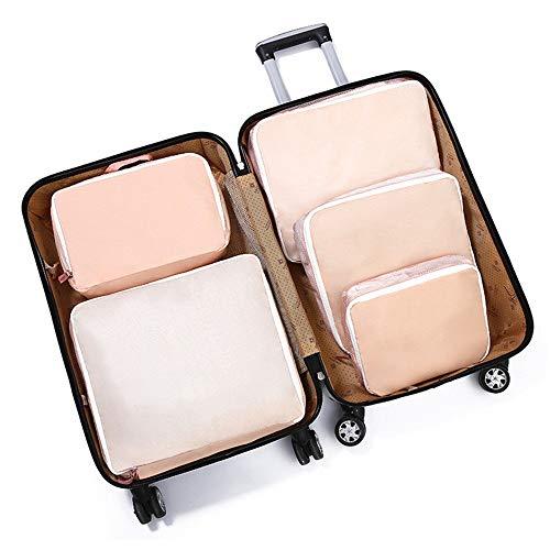 Cubos de Embalaje de Viaje Set de 5 x Embalaje Cubos de viajes organizadores equipaje bolsas de compresión de los sistemas impermeables Bolsas almacenaje de la ropa accesorios de viaje for el equipaje