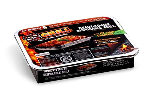 New Improved Disposable Grill by EZ Grill, Small Size-Charcoal BBQ Grill, Ideal for Camping and Tailgate Parties - Portable, Easy to Light, Convenient-Grill Anytime, Anywhere, Lasts 1.5 Hours (1)