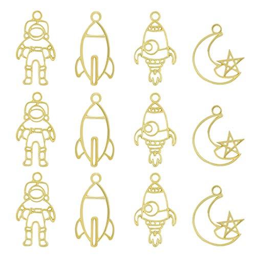 レジン枠 空枠 MUNCVY フレーム パーツ ゴールド 4種12個 セット uvクラフト 大量 カン付き 宇宙飛行士 ロケット カッコイイ セッティング アクセサリーパーツ から枠 ペンダント ハンドメイド 手作り uvレジン