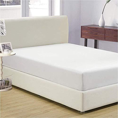 Pavla-Outlet Sábana bajera extra profunda de 800 hilos de satén suave 100% algodón | individual doble king super king (blanco, cama individual)