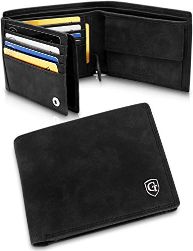 GenTo® Brooklyn Herren Geldbörse mit Münzfach - TÜV geprüfter RFID, NFC Schutz - geräumiges Portemonnaie - Geldbeutel für Männer - Portmonaise inkl. Geschenkbox (Schwarz - Soft)