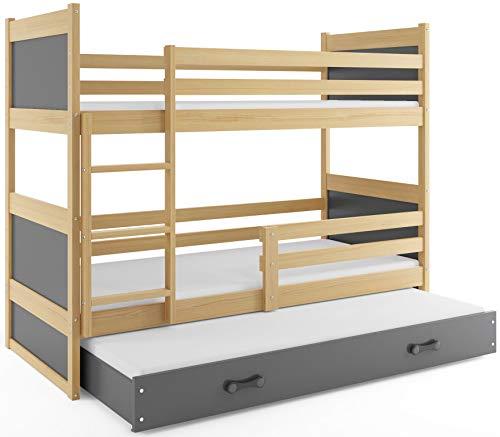 Interbeds Etagenbett Hochbett RICO 3 (für DREI Kinder) 160x80cm Frabe: Kiefer + 2. Farbe zur Wahl; mit Lattenroste und Matratzen (grau)