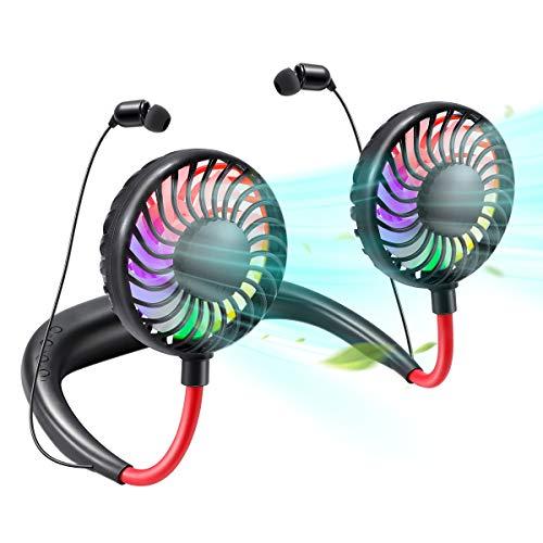 EXTSUD USB Ventilator, Mini tragbare Halsventilator Hängender Halsfächer mit LED-Licht Bluetooth-Kopfhörer 3 Geschwindigkeit wiederaufladbare Ventilator für Outdoor Camping Picknick Reisen