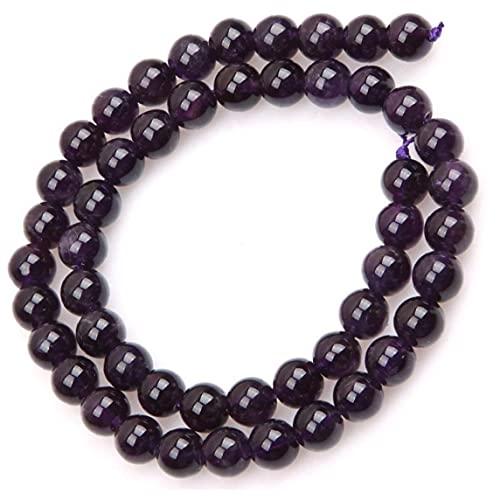 RRunzfon 8mm Ronda Cuentas de Piedras Preciosas Naturales Amatista Strand 15', fabricación de la joyería Perlas, Decoraciones y Accesorios de Moda