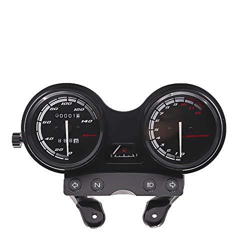 KKmoon Motorrad Tacho Drehzahlmesser Kilometerzähler Doppel Display Instrument mit schwarzer Halterung für YBR-125 2005-2009