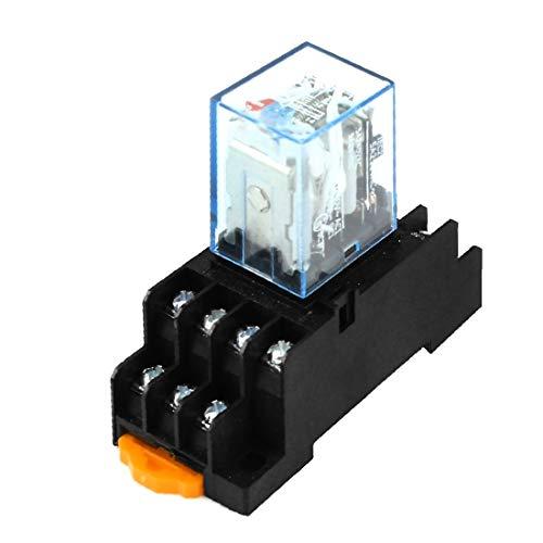 X-DREE DC12V Coil 14 Pins 4PDT Electromagnetic Power Relay w Socket Base(DC12V Bobina 14 pines 4PDT Relé de potencia electromagnética con base de zócalo