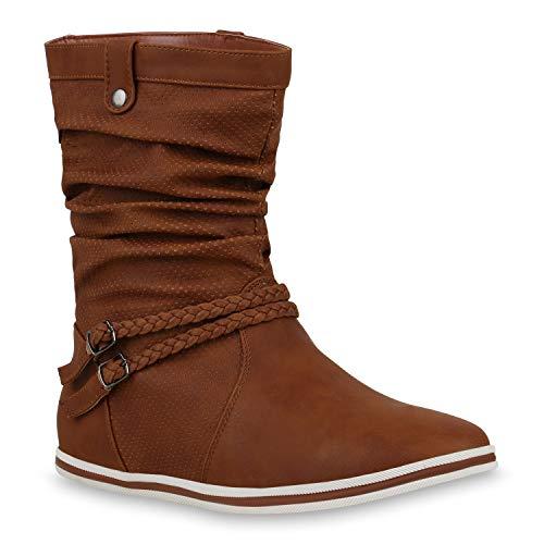 Bequeme Damen Stiefel Schlupfstiefel Lochungen Flache Boots Leder-Optik Metallic Schuhe 104091 Hellbraun 42 Flandell