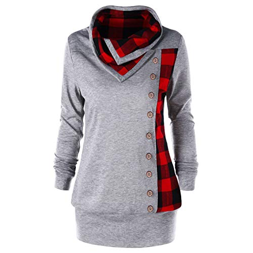 TOPKEAL Hoodie Pullover Damen Herbst Winter Langarm Plaid Kapuzenpullover Sweatshirt Rollkragen Tartan Winterpullover Jacke Mantel Tops Mode 2063 (A-Grau, S)