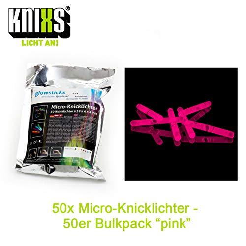 Micro / Mini Knicklichter Bulk Pack - 50 Stück/Tüte - Pink / Rosa Leuchtend für Party / Angelsport (Bissanzeiger) / Luftballons / als Dekoration für Ketten, Ohringe oder Haarschmuck