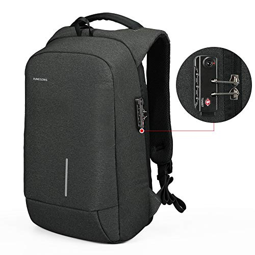 Kingsons Anti-diebstahl Laptop Rucksack mit USB Ladeanschluss Wasserdicht TSA Business Taschen Rucksäcke für Herren Damen Arbeit Reisen Schule bis zu 15,6 Zoll Notebook/Computer grau