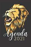 agenda 2021 leone: agenda 2021 settimanale leoni - planner settimanale e mensile A5 - agenda da gennaio 2021 a dicembre 2021 - due pagine per settimana - regali leone uomo donna