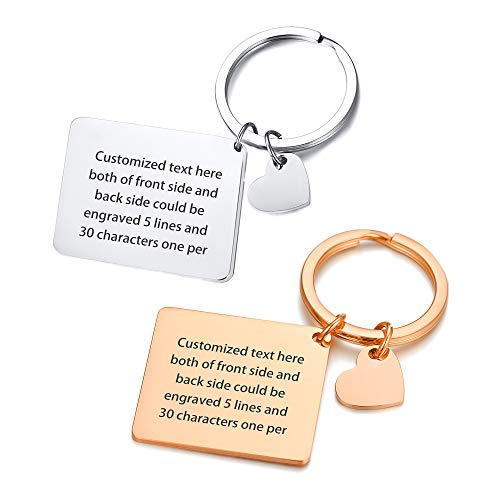 2 Set Customized ID Tag Free Engraved Keychain Couple Family Stainless Steel Identification Friendship Pendant Keyrings Heart Tags Valentine's Day Birthday for Unisex,Style 3