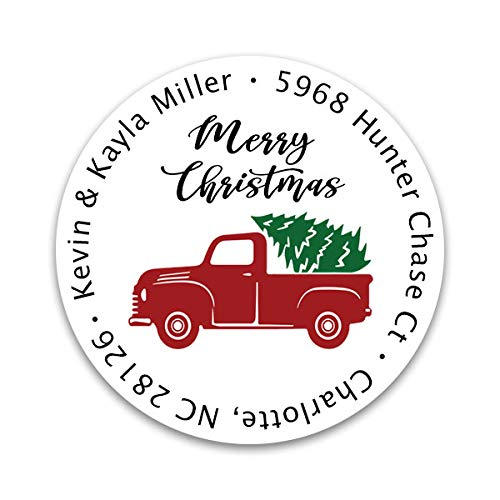 Red Truck Christmas Address Labels - Custom Holiday Return Address Labels, Set of 80 Mailing Labels Round Labels for Envelopes, Self Adhesive Stickers Christmas Red Truck Design (Red Truck - Side)