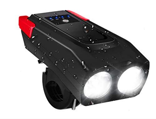Brynnl Fahrrad-Leuchten, 4000mAh USB wiederaufladbare Bike Scheinwerfer mit Horn LED Mountainbike Lichter wasserdicht Fahrrad Scheinwerfer Set einstellbare Beleuchtung Modi Radfahren Lichter