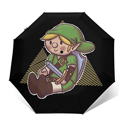 Hero Plush Link Triforce Legend of Zelda Winddichter kompakter Automatischer Faltschirm zum Öffnen und Schließen