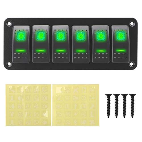 Qclj0412 Panel de interruptores de rockero on-off Impermeable Twofold Switch Switch LED Toggle Switch Switch Panel 12 / 24V 6 pandilla para la caravana marina RV Piezas de repuesto ( Color : Green )