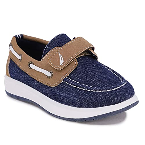 Nautica Kids Boys Loafers Casual One Strap Boat Shoes for Toddler Little Kid-Teton Toddler-Denim Tan-12