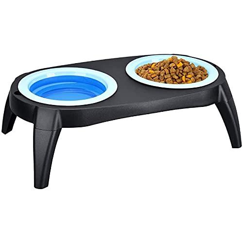 Alimentador para mascotas con soporte duradero y plegable, respetuoso con el medio ambiente, con patas desmontables, alimentos y agua, apto para lavavajillas, color azul, tamaño: talla única