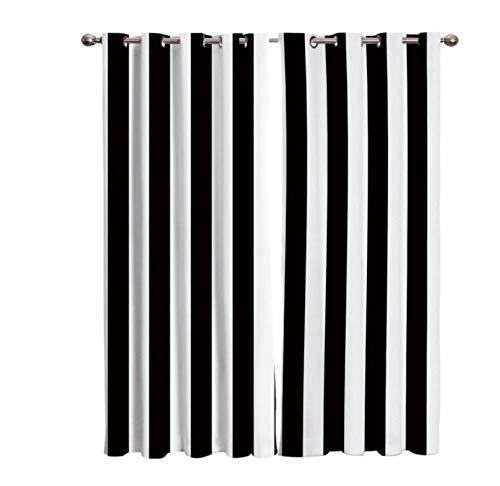 Cortina Salon Arte De Rayas En Blanco Y Negro 2 Unidades Termicas Aislantes Frio Dormitorio Acusticas Gruesas Baratas Cortinas Ventana Comedor Cocina 280 * 250Cm