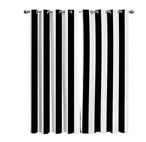 YJRXSS Cortinas Aislantes Lineas Blancas y Negras 2 X W 75 X L 166 Cm para Dormitorio Salón Habitación Comedor con Aislamiento Térmico para Decoración De Ventana 2 Paneles