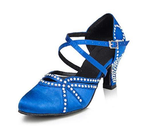 Zapatos De Punta Cerrada para Mujer Zapatos De Baile Latino Zapatos De Baile Modernos Sandalias para Banquete De Boda-Azul (Suela De Goma para Exteriores) _Uk2.5 / Eu32 / Our33