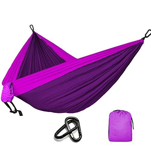 LIANYG Hammock Camping Parachute Hammock Survival Garden Outdoor Furniture Leisure Sleeping Travel Double Hammock 144 (Color : Purple)