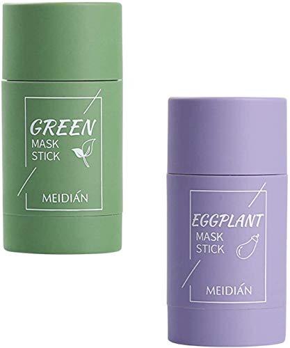 Soolike 2PC Palito De Té Verde,Green Mask Stick,Facial Mask Stick,Green Mask,Green Tea Cleansing Mask,Berenjena Hidratante(Té Verde + Berenjena).