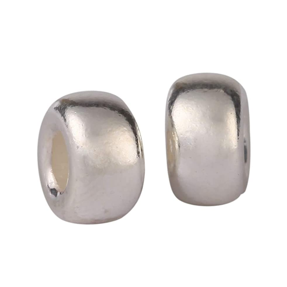 20pcs Sterling Silver Bubble Rondelle Spacer 6mm Round Beads (Large Hole ~ 2.4mm) for Jewelry Craft Making Findings SS49-BB