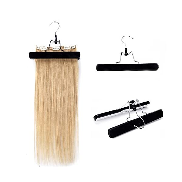 Beauty Shopping Hair Extensions Hanger Wooden Hair Holder with Double Anti-slip Stickers for Clip