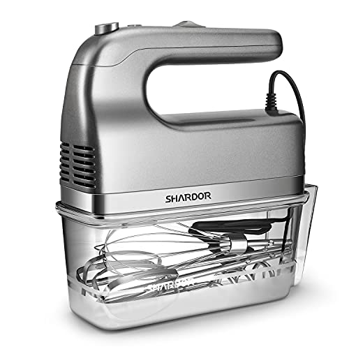 SHARDOR Hand Mixer 350W Power Advantage Electric Handheld Mixers with 5 Stainless Steel Attachments(2 Beaters, 2 Dough Hooks and 1 Whisk), Storage Case, Silver