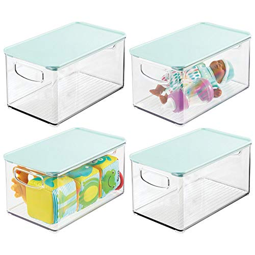 mDesign Kids Small Plastic Stackable Toy Storage Organizer Bin Box with Lid for Storing Action Figures, Crayons, Building Blocks, Puzzles, Wood Construction Sets, Dog/Cat Toys, 4 Pack - Clear/Mint