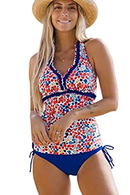 Beachsissi Flower Print Lacework Tankini Halter Neck Tie Side Navy Blue Two Piece Swimsuits
