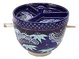 Ebros - Juego de fideos y salsa japonesa para comedor Tempura Udon y Tentsuyu de 6 pulgadas con tapa separadora de condimentos y palillos integrados con palillos de bambú