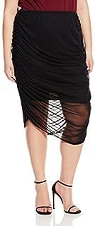 Star Vixen Women's Plus-Size Chiffon Rouched Midi Skirt with Short Lining