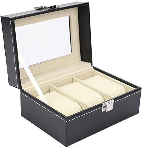JSDKLO Watch Display Storage Box Watch Organizer, 3 Slot Watch Box PU Leather Watch Storage Case, Birthday Gifts for Men and Women