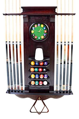 Iszy Billiards - Cue Rack Only 10 Pool Cue - Billiard Stick Wall Rack W/Clock Choose Mahogany, Dark Oak or Black Finish (Mahogany)