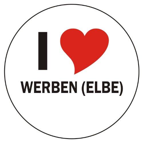 I Love WERBEN (ELBE) Handyaufkleber Handyskin 50x50 mm rund