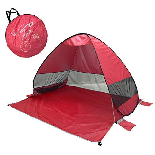 Keepfit Anti-UV Heave Up Tent Outdoor Beach Shade Shelter Tent Best for Camping Fishing Hiking (Red)