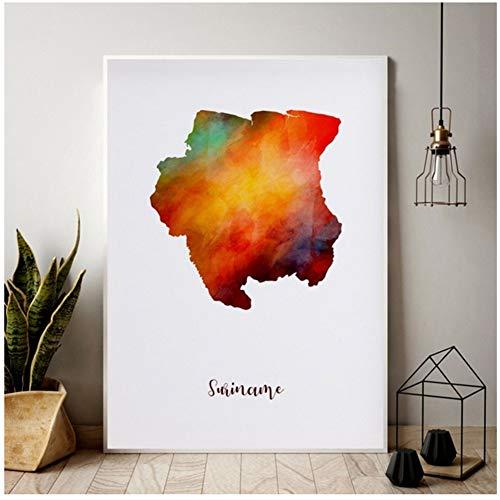 Suriname kaart Aquarel Kaart Moderne Stad Canvas Art Print Muurfoto's voor Woonkamer Print op Canvas Muur art-50x70cm-Geen Frame