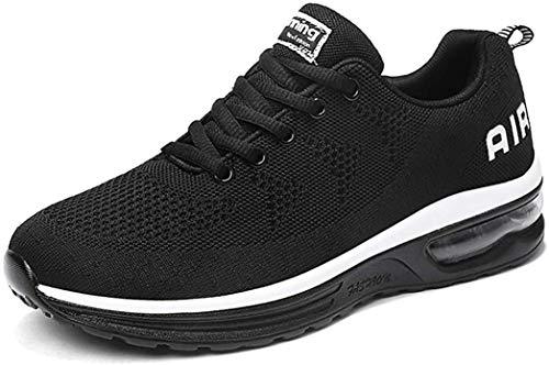 gojiang Herren Damen Laufschuhe Turnschuhe Sportschuhe Straßenlaufschuhe Sneakers Atmungsaktiv Trainer für Running Fitness Gym Outdoor Leichte-BlackWhite40