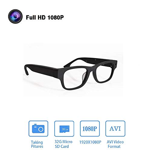 GLASSES Kamera-Brille 1080P, HD-Video-Brille Max 32 GB Speicherkarte - Brille mit Kamera - Tragbare Kamera