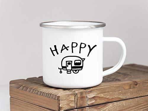 Interluxe EMAILLE Becher Retro Tasse Happy Camper Geschenk Wohnwagen Camping bruchsicher Outdoor Mug